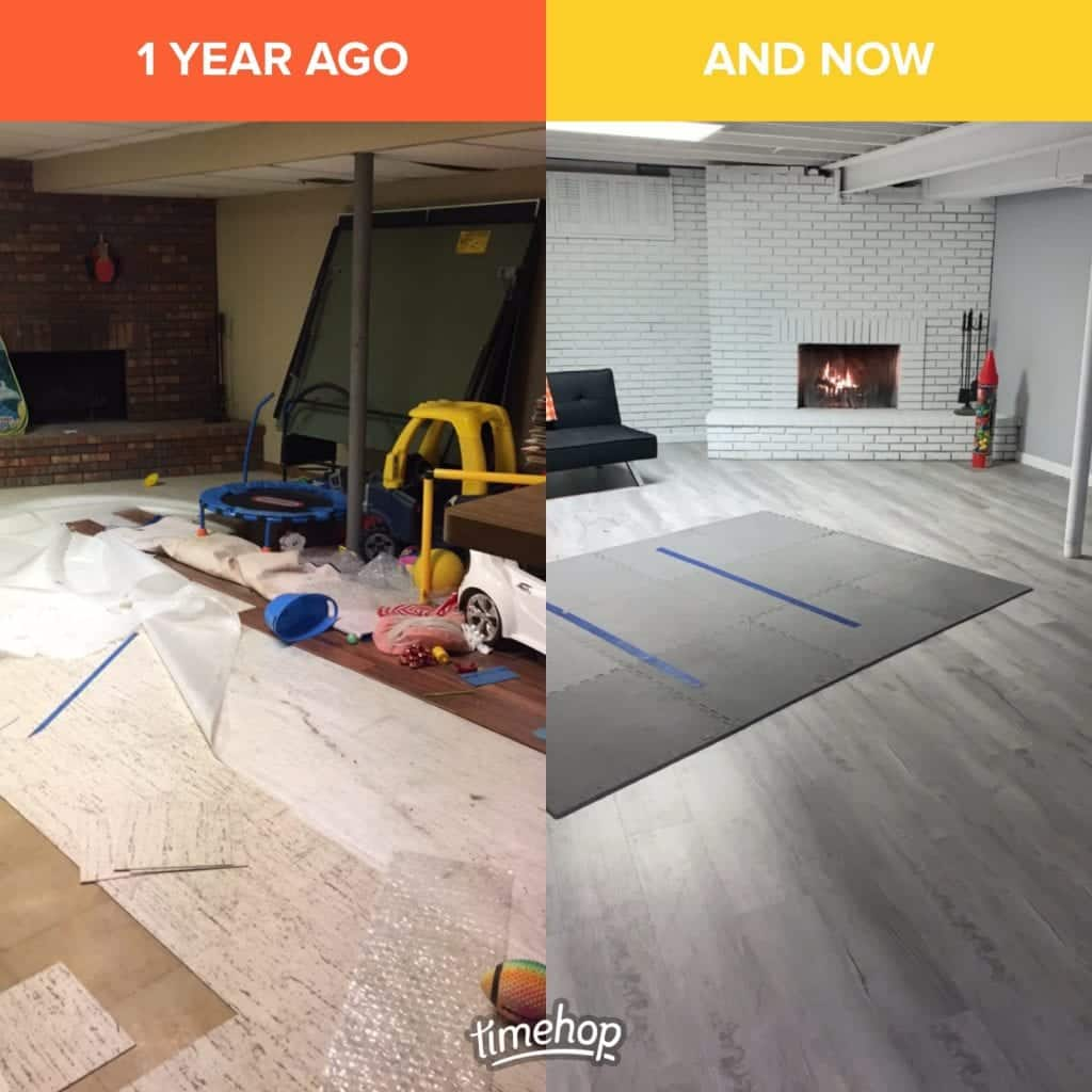 Before and after photo of basement for our 2020 mid-year goals