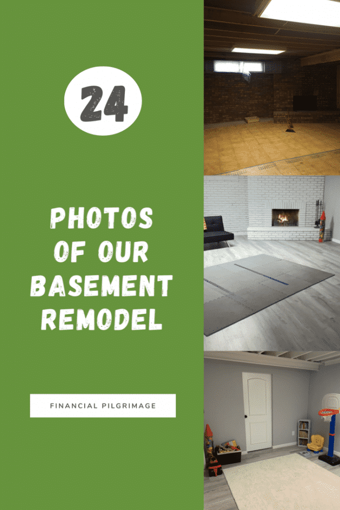 pinterest image of basement remodel