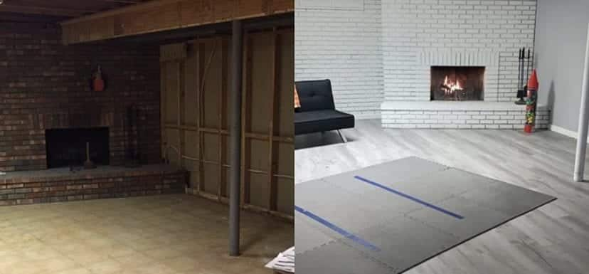 before and after photos of basement remodel