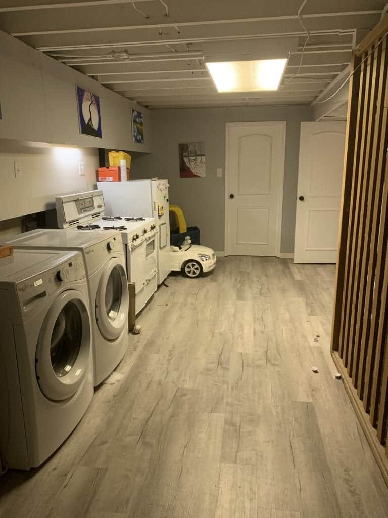 Laundry room after the basement remodel